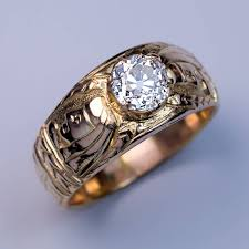 antique rings vintage images Unusual antique diamond chased gold men 39 s ring antique jewelry jpg