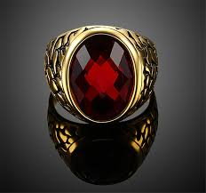 red jewelry rings images Punk stainless steel red men ring gold old plated big red stone jpg