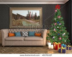 vector interior decorated christmas design room stock vector