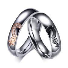 jewelry promise rings images Silver titanium steel round cut gemstone promise ring for couples jpg
