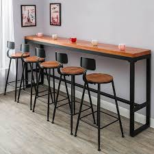 High Counter Table Retro Leisure Outdoors High Bar Counter Table Iron Solid Wood Bar