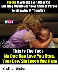 Brother Sister Memes - bro sis may make each other cry but they will never allowanother