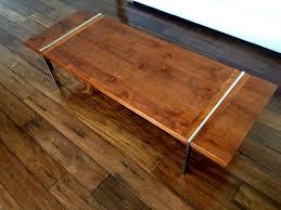 1962 lane 1115 series walnut veneer and chrome coffee table 21 75