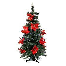 shop northlight 3 ft pre lit poinsettia artificial tree