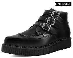 black vegan tukskin 3 buckle strap pointed toe creeper boots