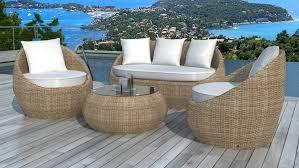 canapé jardin salon de jardin en résine tressée ronde rotin malaga