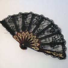 black lace fan vintage black lace fan held lace fan vintage black