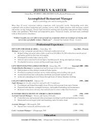 restaurant resume templates restaurant manager sle resume restaurant bar resume template