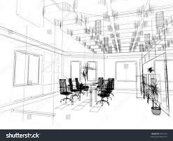 modern office interior design sketch 3d stock illustration 6742552
