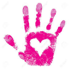 heart in hand print people support isolated cute skin texture