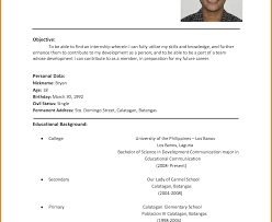 resume sle for high graduate philippines flag crafty design resume for simple student format engineering