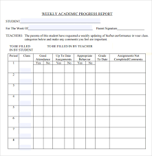 academic progress report template free student or academic weekly progress report template sle