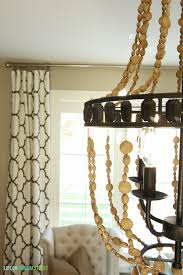 accessories wood bead chandelier with glass window and pattern