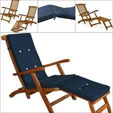 Garden Recliner Cushions Deuba Wooden Garden Sun Lounger Bed Recliner Cushion Pad Folding