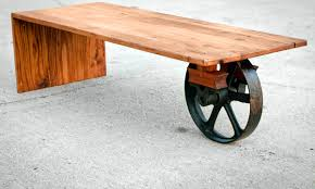 Wooden Coffee Table With Wheels by Wheeled Waterfall Coffee Table Custom Furniture Industrial