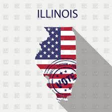 State Map Of Illinois by State Of Illinois Map With Flag And Presidential Day Vote Stamp