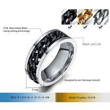 titanium chain rings images Buy vnox spinner black chain ring for men punk jpg