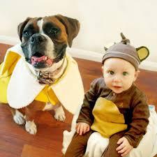 Baby Animal Halloween Costumes 12 Funny Photos Babies Dogs Wearing Matching Halloween