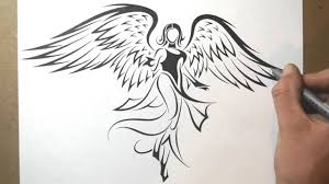tattoo angel simple how to draw an angel tribal tattoo design style youtube