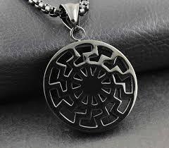 vintage black pendant necklace images Black sun black chain as ancient german pendant necklace men 39 s jpg