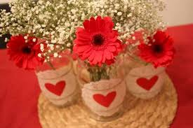 Valentines Day Decor Images valentines day decor ideas home table red gerbera doilies jars