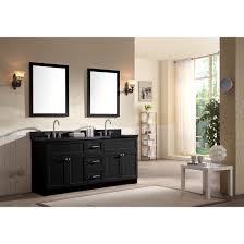 Granite Bathroom Vanity Ace 73 Inch Transitional Double Sink Bathroom Vanity Set Black