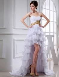 high low ruffle wedding dress the shape is great it has the tighter bodice fron
