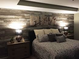 wooden wall bedroom added laminate flooring to bedroom wall to give the room a
