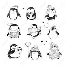 mignon dessinée pingouins de vector set salutations merry