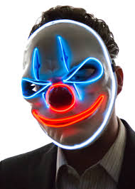 halloween mask clown glowing angry clown mask neon nightlife