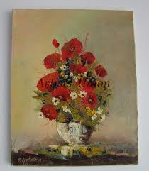 Vase With Red Poppies Red Poppies Original Oil Painting Impasto Wild Flowers Bouquet