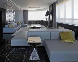 design interior grey and white livingroom natural black floor