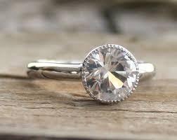 what is milgrain 2 50 cts white sapphire milgrain bezel ring in 14k white gold