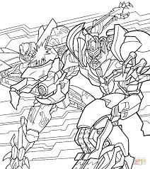 fight of optimus and megatron coloring page free printable