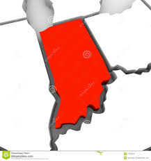 Red State Map by Indiana Red Abstract 3d State Map United States America Royalty