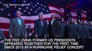 first five presidents five former us presidents appear together at hurricane relief concert