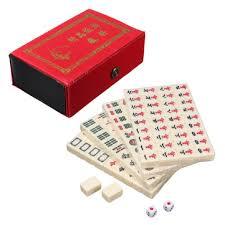 mahjong ustensile de cuisine portable vintage mini mahjong jeu chinois 144 carreaux mah jong