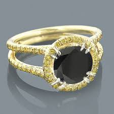 unique gold engagement rings unique yellow and black engagement ring 2 95ct 18k gold