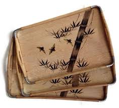 bambus design vintage set of 3 wooden trays with an asian bamboo and birds