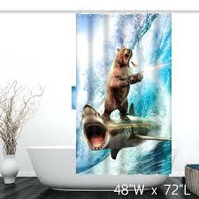 shark week shower curtain target shooting bear ride surf custom