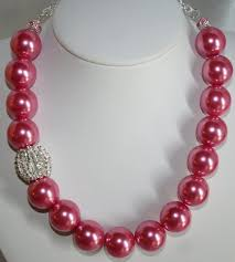 chunky pearl statement necklace images Bold chunky pink pearl statement necklace by 123gemstones on zibbet jpg