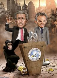 Bad Monkey George Bush And Tony Blair Puppets With A Bad Monkey Pictures