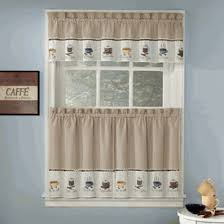 Cafe Kitchen Curtains Java Coffee Theme Embroidered Curtains Coffee Print Kitchen