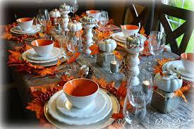 dining delight fall tablescape in orange white gray