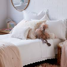 lace trim embroidered percale cotton bed linen zara home australia