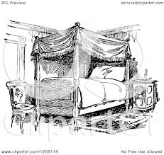 clipart of a vintage black and white bedroom royalty free vector