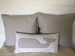 luxury pillow covers tailored ticking nautical stripe beach