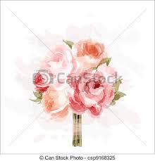 Peonies Bouquet Vector Illustration Of Drawing Peonies Bouquet Csp13015023