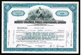 british columbia power corporation share certificate 1954
