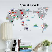 worldmap wall sticker with country flag
